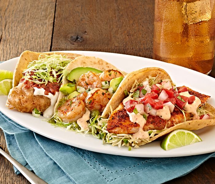 The Coastal Trio at Rubio's: The Original Fish Taco, Salsa Verde Shrimp Taco, Grilled fish taco