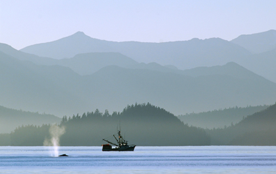 Alaskan waters and fishing boat