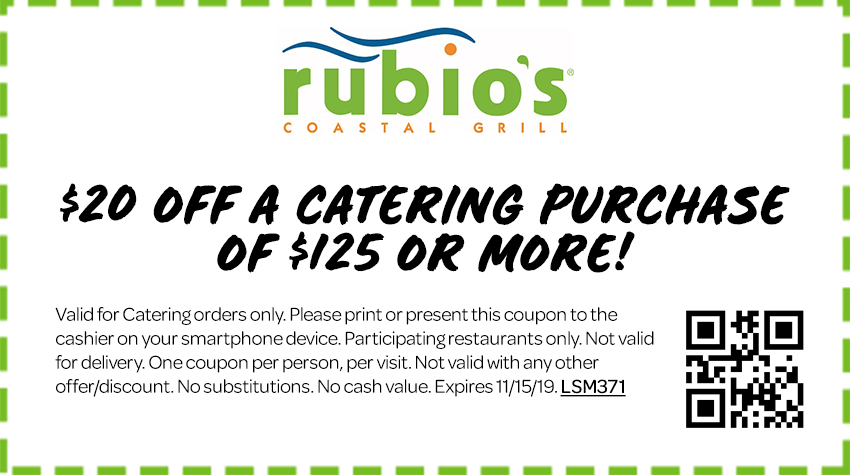 $20 off Catering Purchase of $125 or More