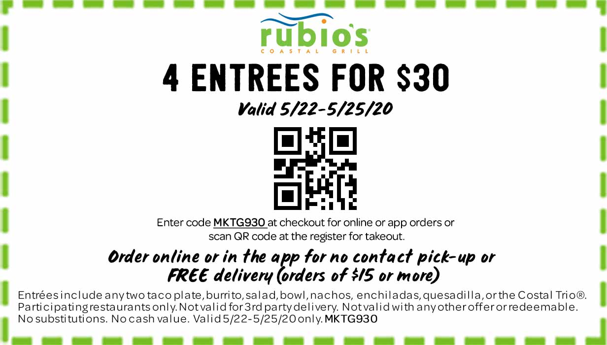 4 Entrees for $30.  Valid 5/22-5/25/20 only