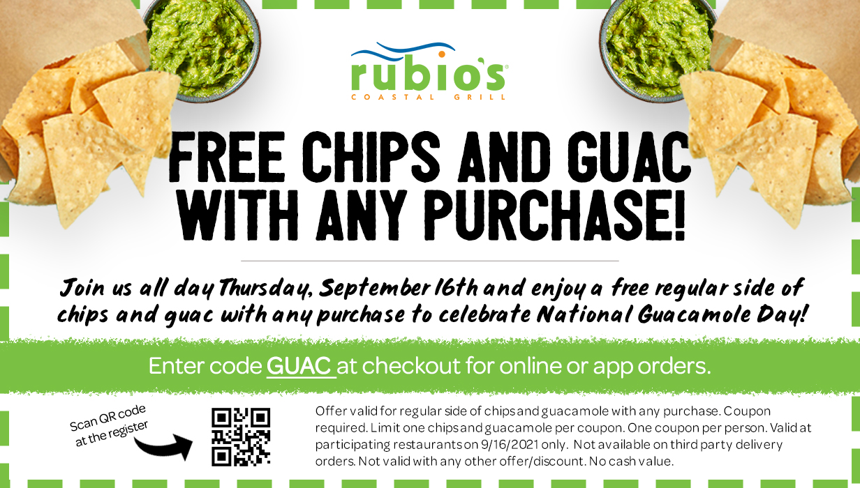 Free Chips and Guac with Any Purchase. September 16th Only.