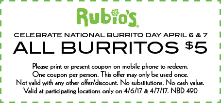 $5 burrito coupon for National Burrito Day at Rubio's
