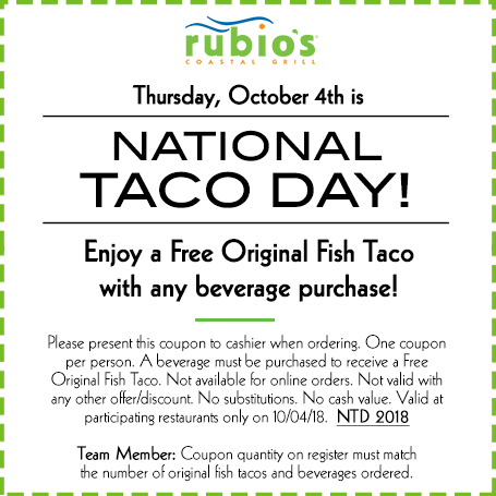 Free Original Fish Taco with beverage purchase