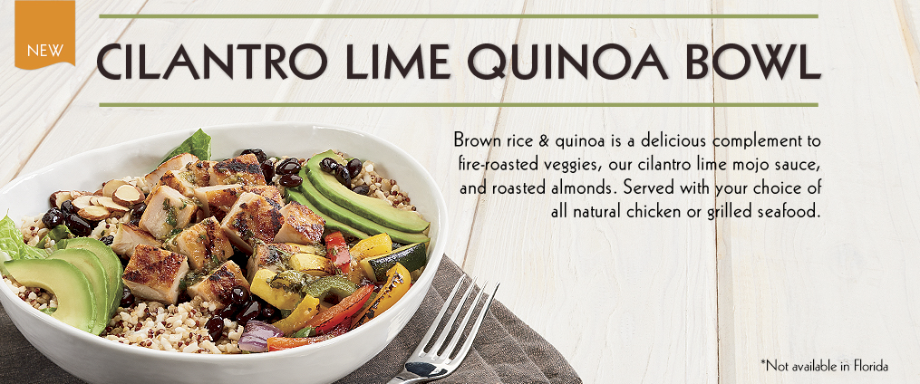 New Cilantro Lime Quinoa Bowl at Rubio's