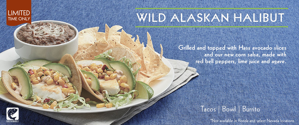 Wild Alaskan Halibut Two Taco Plate is available at select Rubio's locations