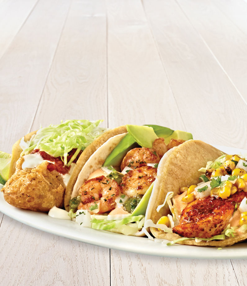 the coastal trio original fish shrimp tilapia tacos