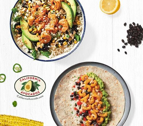 Mexican Street Corn Wild-Caught Shrimp Bowl and Norway Lobster Burrito