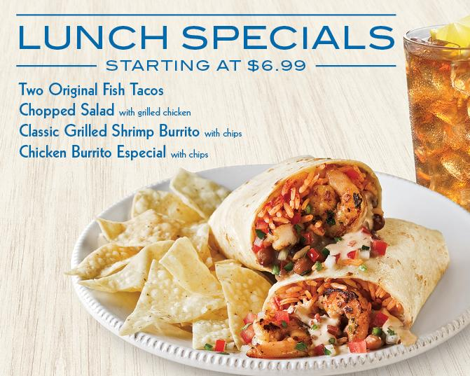 Lunch specials at Rubio's before 2 PM.  Not available on online orders.