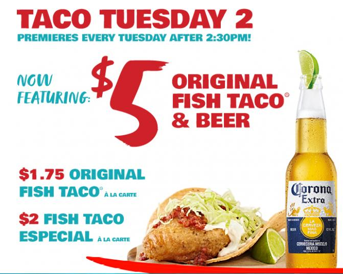 Taco Tuesday 2 Premiers every Tuesday after 2:30 PM.  Enjoy The Original Fish Taco & Beer for $5.