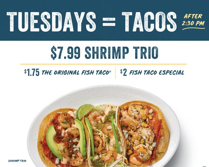 Taco Tuesday Specials.  Tuesday's after 2:30pm