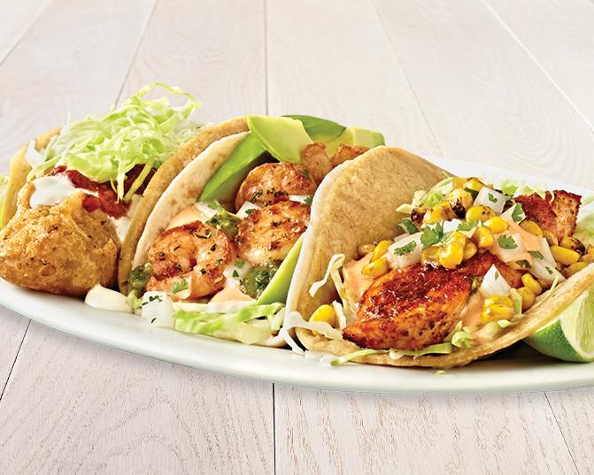 The Coastal Trio at Rubio's: The Original Fish Taco, Salsa Verde Shrimp Taco, Wild Mahi Mahi Taco